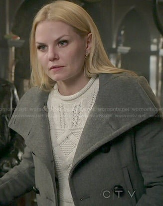 Emma's cable knit sweater and grey coat on Once Upon a Time