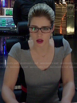 Felicity's grey, black and red colorblock dress on Arrow