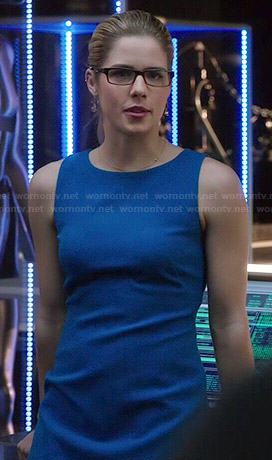 Felicity's blue dress with back cutout on Arrow