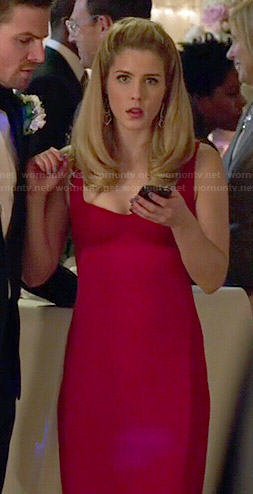 Felicity's red two-tone dress on Arrow