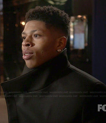 Hakeem's black funnel neck coat on Empire
