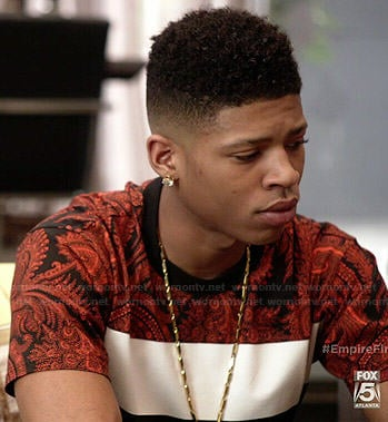 Hakeem's colorblock and paisley print tee on Empire