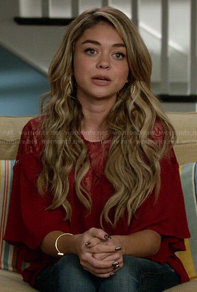 Haley's red lace yoke blouse on Modern Family