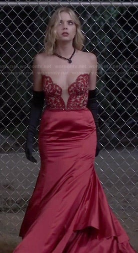 Hanna's red strapless prom dress on Pretty Little Liars