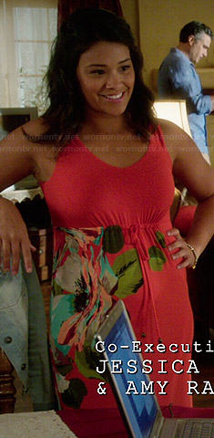 Jane's orange floral maxi dress on Jane the Virgin