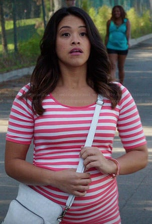 Jane's coral striped maternity dress on Jane the Virgin