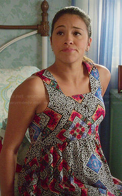 Jane's tile printed dress on Jane the Virgin