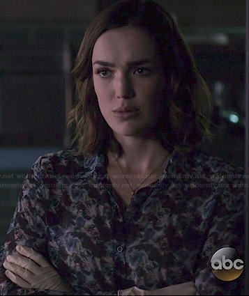 Jemma's printed blouse on Agents of SHIELD