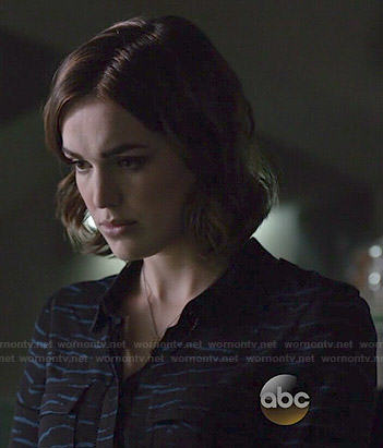 Jemma's black and blue tiger striped blouse on Agents of SHIELD