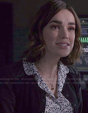 Jemma's key print blouse on Agents of SHIELD