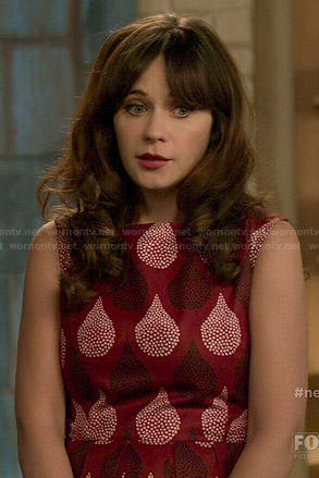 Jess's red teardrop print dress on New Girl