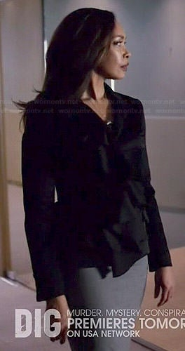 Jessica's black ruffle front blazer on Suits