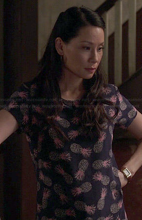 Joan's pineapple print dress on Elementary