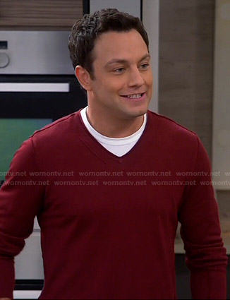 Josh's red v-neck sweater on Young and Hungry