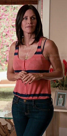Jules's coral striped tank top on Cougar Town