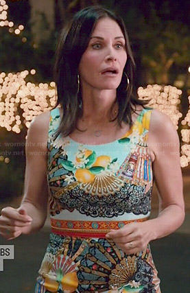 Jules's lemon and fan print dress on Cougar Town