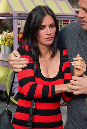 Jules's red and black striped long sleeve dress on Cougar Town