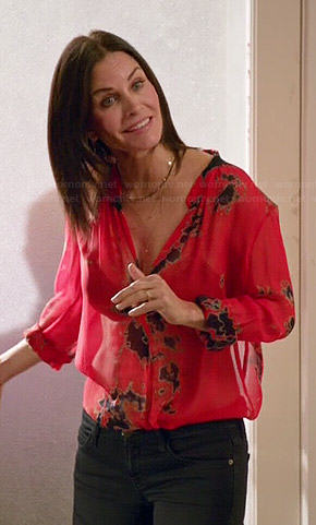 Jules's red tie dye blouse on Cougar Town