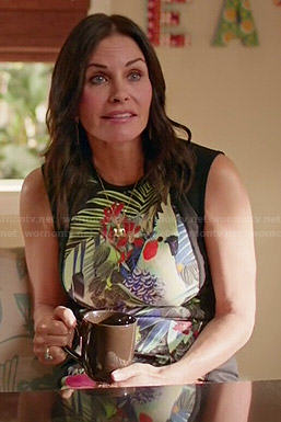 Jules's tropical print dress on Cougar Town