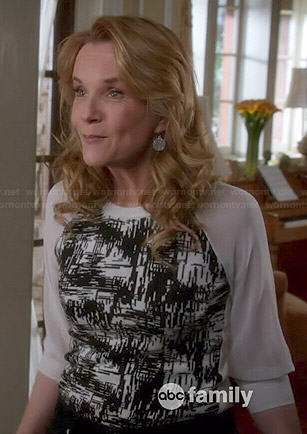 Kathryn's black and white printed top with sheer sleeves on Switched at Birth