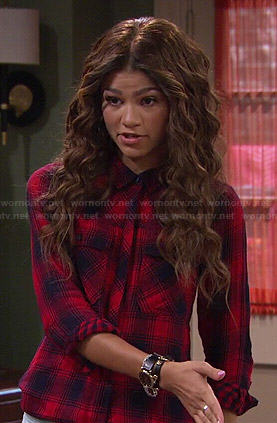 KC's red plaid shirt on KC Undercover