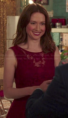 Kimmy's red v-back lace dress on Unbreakable Kimmy Schmidt