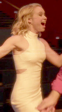 Kitty's white cutout dress on Glee
