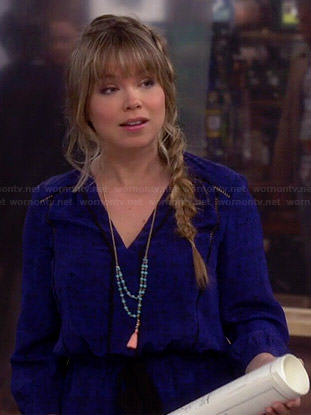 Kristin's blue printed long sleeve dress on Last Man Standing