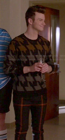 Kur'ts colorblock houndstooth print sweater on Glee