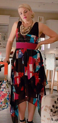 Laurie's black, red and blue printed handkerchief hem dress on Cougar Town