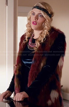 Laurie's multi colored fur vest on Cougar Town