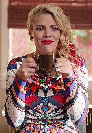 Laurie's stained glass print dress on Cougar Town