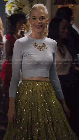 Lemon's blue cropped sweater, green embellished skirt, pink cat flats and star jewelry on Hart of Dixie