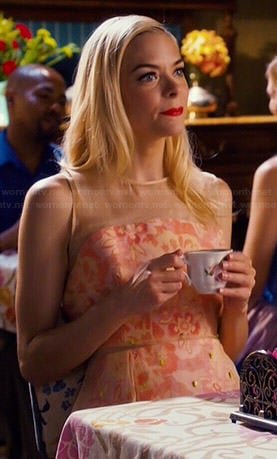 Lemon's peach damask print overlay dress on Hart of Dixie