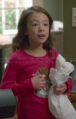 Lily's pink hedgehog print top on Modern Family