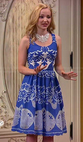 Liv's blue and white patterned dress and yellow wedges on Liv and Maddie