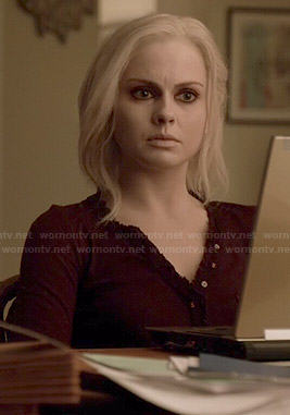 Liv's burgundy henley top with ruffled trim on iZombie
