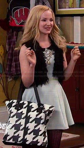 Liv's mint dress with black collar and houndstooth bag on Liv and Maddie