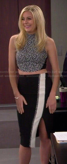 Maddie's black and white printed crop top and pencil skirt set on Cristela