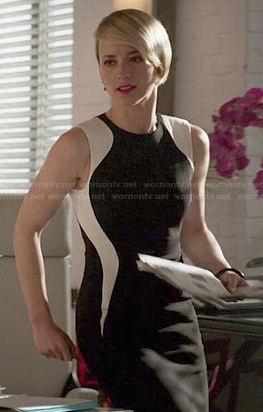 Margaux's black and white curved panel dress on Revenge