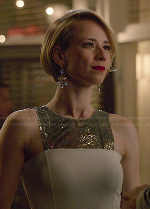 Margaux's white and silver sequin panel dress on Revenge