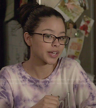Mariana's tie dyed 'Malibu' sweatshirt on The Fosters