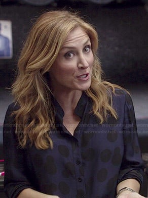 Maura's black and blue polka dot shirt on Rizzoli and Isles