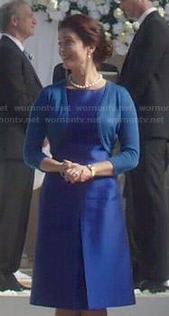Mellie's blue a-line dress and shrug on Scandal