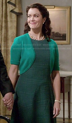 Mellie's green textured dress on Scandal