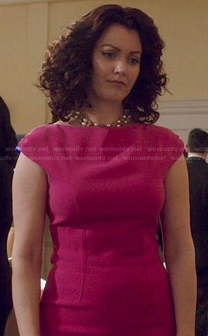 Mellie's pink darted dress on Scandal