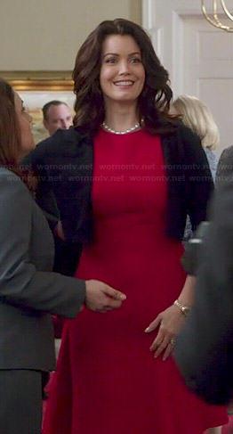 Mellie's red textured dress and black shrug on Scandal