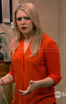 Mel's orange v-neck blouse on Melissa and Joey