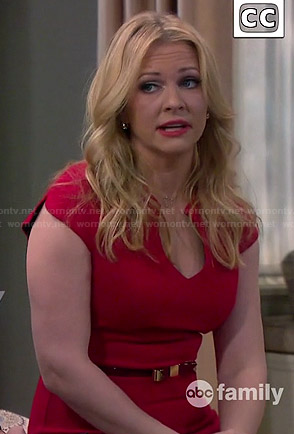 Mel's red split neck dress on Melissa and Joey