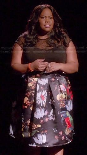 Tina's white mesh striped peplum top on Glee